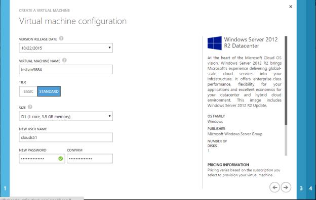 Microsoft Azure Virtual Machine Configuration