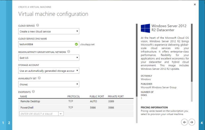 Microsoft Azure Virtual Machine Configuration