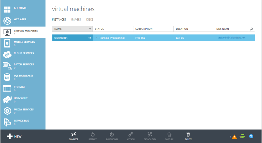 Microsoft Azure Virtual Machine Instance