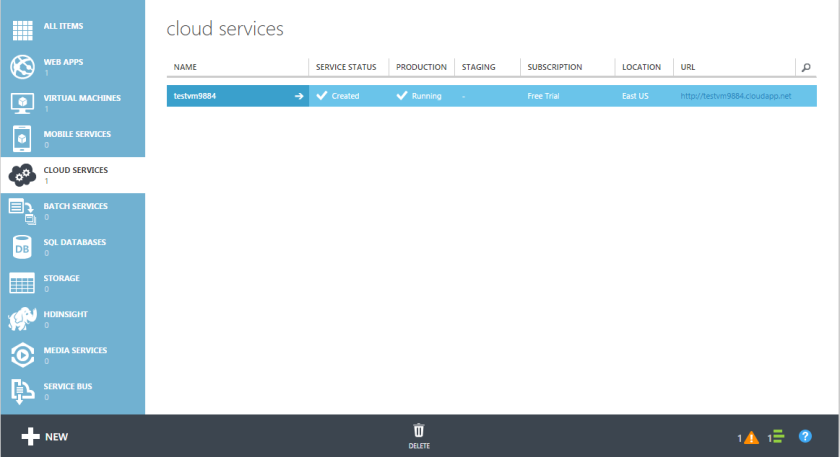 Microsoft Azure Virtual Machine Cloud Service