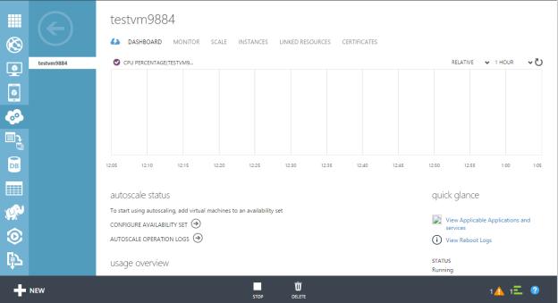 Microsoft Azure Virtual Machine Cloud Service Dashboard