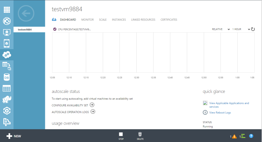 Microsoft Azure Virtual Machine Cloud Service Dashboard
