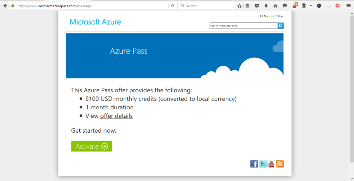 Try Microsoft Azure for free-Microsoft Azure Pass