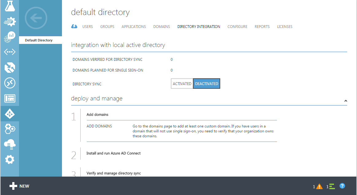 Microsoft Azure Active Directory-How to Activate Directory Synchronization