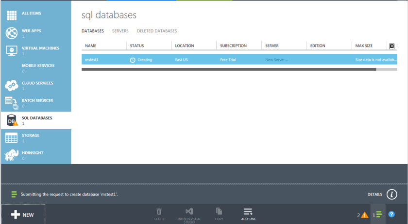 4.Azure SQL Databases-Quick Create