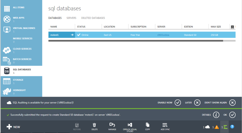 5.Azure SQL Database-Management Portal
