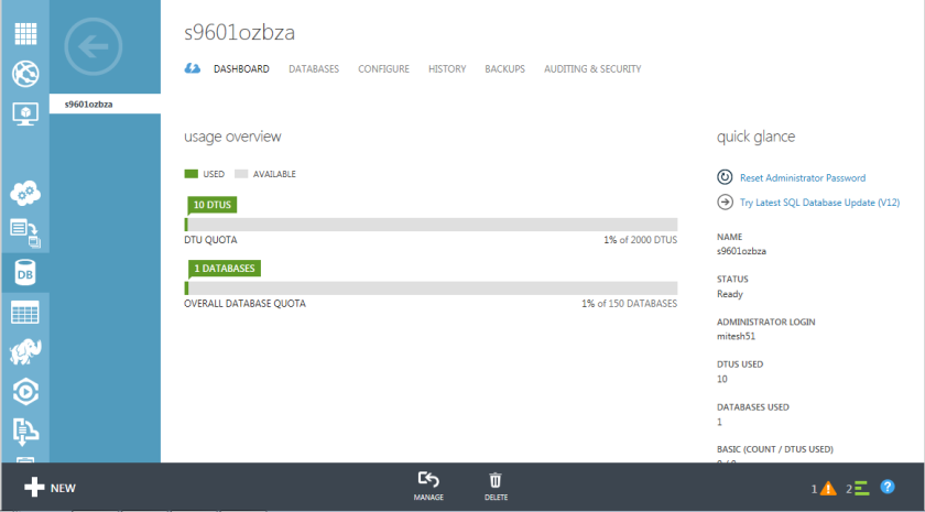 6.Azure SQL Database-Management Portal-Dashboard
