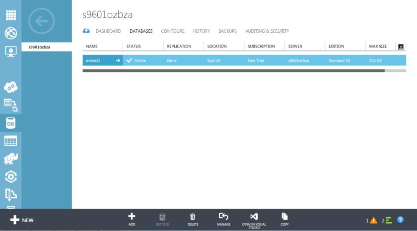 6.Azure SQL Database-Management Portal-Databases