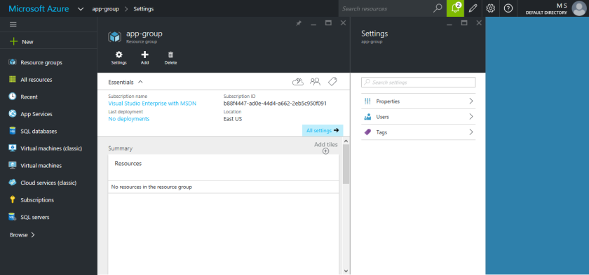 Microsoft Azure - New Resource Group